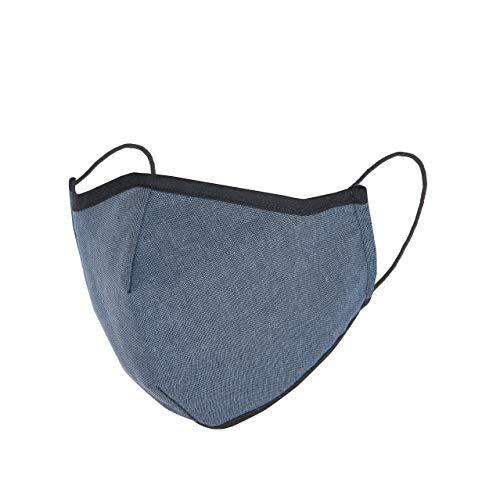 3 Stück Mund Nasen Maske Behelfs-Mundschutz Baumwolle waschbar mit Gummiband Baumwolle Jeans blau