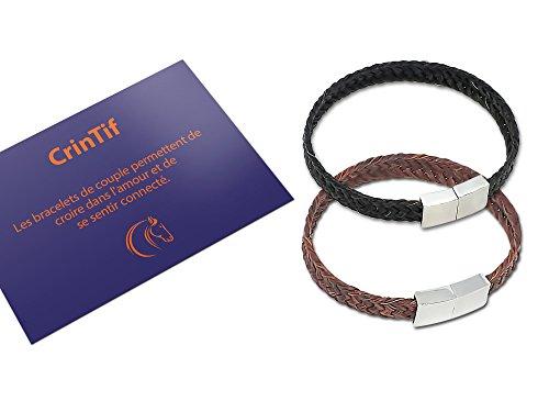 2 Paar-Armbänder aus Pferdehaar – 18 bis 21 cm – Armband Kollektion Tennessee – flach geflochten – Schmuck für Damen und Herren – Braun und Schwarz - 19.00