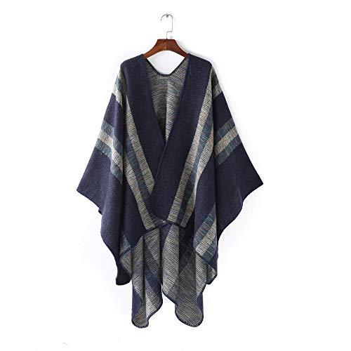 Alvnd Elegante gebreide sjaal strepen kleur strepen camouflage vrouwen bijpassende sjaal warmer sjaal warmer winter sjaal 165 * 125cm Kleur 4