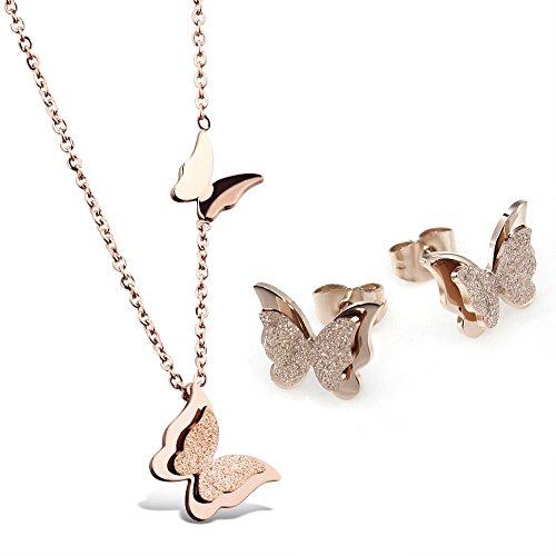 Kim Johanson Edelstahl Damen Schmuckset Schmetterling Halskette mit Anhänger & Ohrringe in Roségold inkl. Geschenkverpackung