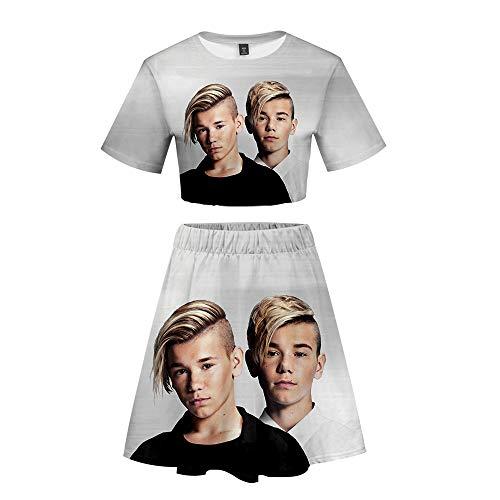 Marcus&Martinus Twins zanger Zomer 3D Trainingspak Blootgestelde Navel Tops + Sport Korte Rok T-Shirt Kleding Sportkleding Sets