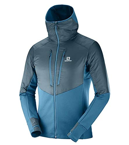 Preisvergleich Produktbild SALOMON Softshell-Jacke Winddichte Herren Funktions-Jacke Drifter Air Mid Hoodie Regen-Jacke Outdoor-Jacke Blau,  Größe:S