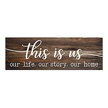 This is Us Our Life Our Story Our Home Rustic Wood Wall Sign 6x18 (Brown)