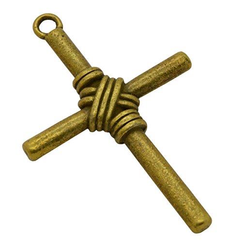Kreuz Anhänger Bronze - Kreuz-Balken geflochten 40x25x6mm
