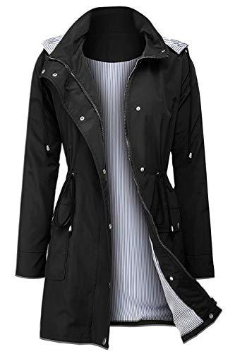 Arthas Women Rain Jacket Waterproof Active Outdoor Trench Raincoat with Hooded Lightweight Black , X-Large