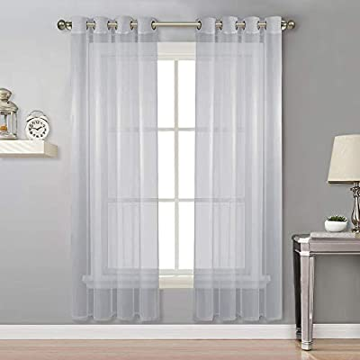 NICETOWN Long Sheer Curtain Panels - Ring Top Modern Window Treatment Voile Drapes for Bedroom/Living Room (Light Gray, One Pair, W54 x L96)