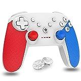 Mando para Nintendo Switch, Bluetooth inalámbrico Controller Switch Pro Support Gyro Axis, Turbo y Dual Vibration Switch Joystick para Nintendo & PC Azul y Rojo (Blanco)