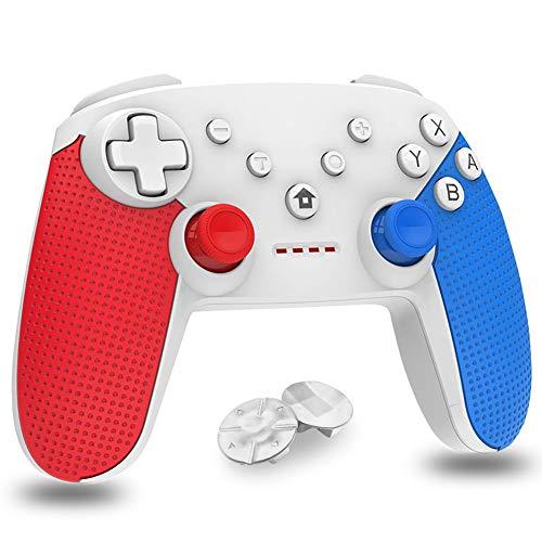 Mando para Nintendo Switch,  Bluetooth inalámbrico Controller Switch Pro Support Gyro Axis,  Turbo y Dual Vibration Switch Joystick con Cable de Carga Tipo C para Nintendo & PC Azul y Rojo (Blanco)