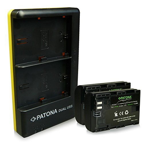 PATONA Cargador Doble + 2X Premium Bateria LP-E6 Compatible con Canon EOS 7D 6D 5D Mark II III IV