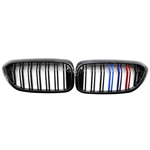 KKmoon Auto Nieren Doppelsteg Sport Kühlergrill Gitter Grill Racinggitter für BMW G30 G31 G38 5er 17-18 glänzend schwarz