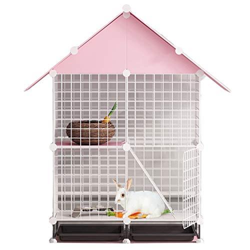Käfige & Laufställe Kaninchenkäfig Indoor-Haustiervilla Großer doppelschichtiger Kaninchen-Nest mit automatischer Defäkation Haushaltszuchtkäfig (Color : Pink, Size : 75 * 39 * 122cm)