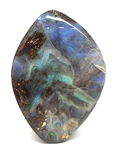 Boulder Opal Anhänger gebohrt mit 60cm Lederband, Opal 31x21x10, Unikat, Handgeschliffen