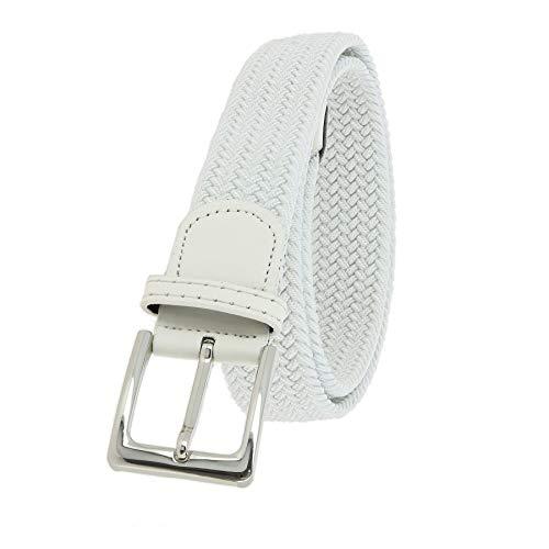 FASHIONGEN - Cintura Vera Pelle Elastica Intrecciata per Uomo e Donna, per Jeans Pantaloni, PERDERSEN - Bianco, T115 / lunghezza 125 - pantalone taglia 54 a 58