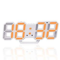 Petilleur 3D Digital Alarm Clock,Wall LED Number Time Clock with 3 Auto Adjust Brightness Levels,Led Electronic Clock with Snooze Function,Modern Night Light Clock Date,Temperature Display (Orange)
