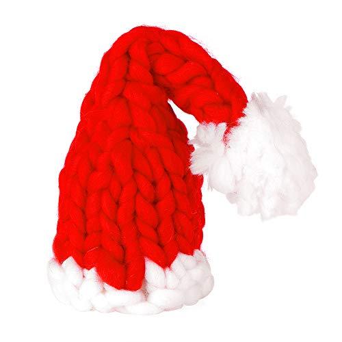 Decdeal kerstmuts kerstmuts gebreid van polyester IJslandwol met witte bal Kerstman muts voor baby kinderen volwassenen