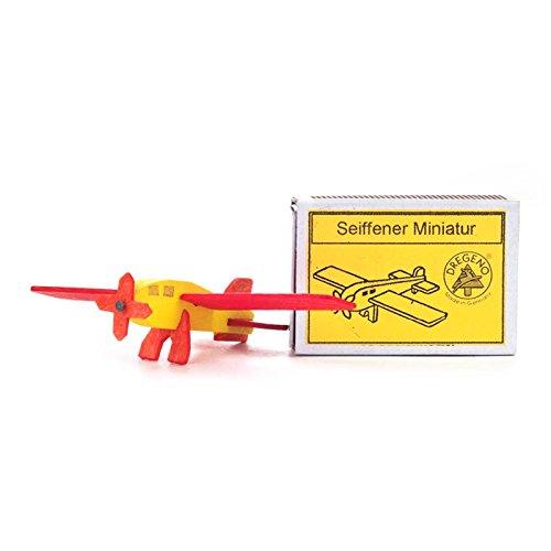 Miniatuur luciferdoos met vliegtuig demonteerbaar - Dregeno houtkunst Ertsgebergte - artikel 028/002
