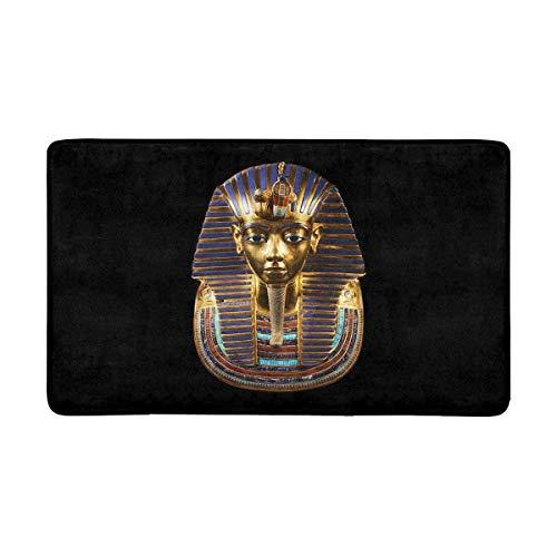 Antico Egitto Maschera funeraria di Tutankhamon Zerbino Tappeto per Ingresso Interno per Esterni Tappetino per Scarpe Raschietto Tappetino Antiscivolo Decorazioni per la casa, Supporto in Gomma