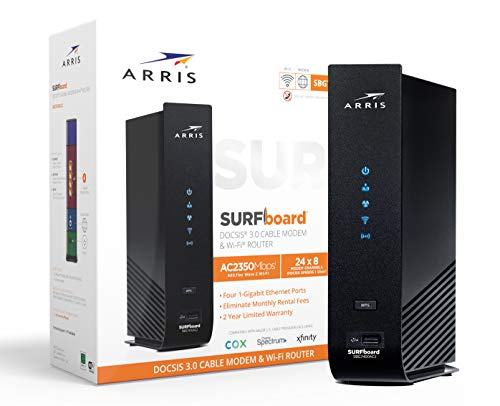 ARRIS SURFboard SBG7400AC2 DOCSIS 3.0 Cable Modem & AC2350 Dual-Band Wi-Fi Router, Approved for Cox, Spectrum, Xfinity & others (black)