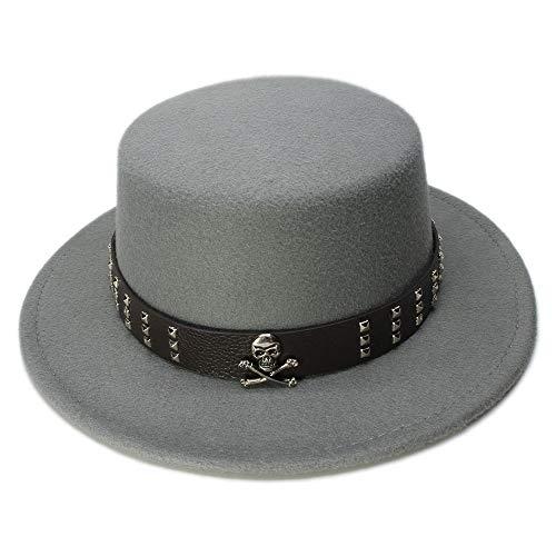 HOUJHUS Hombres de Lana Vintage de ala Ancha Tapa Superior Pork Pie Pork-pie Bowler Hat Skull Bead Cuero Band (Color : Gris, Size : 57-58cm)