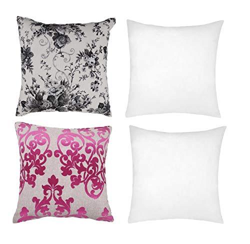ForenTex Pack 2 Fundas Estampados Florales con Rellenos Cojin Fibra 45X45cm, Gris/Rosa, 42x42 cm, 4