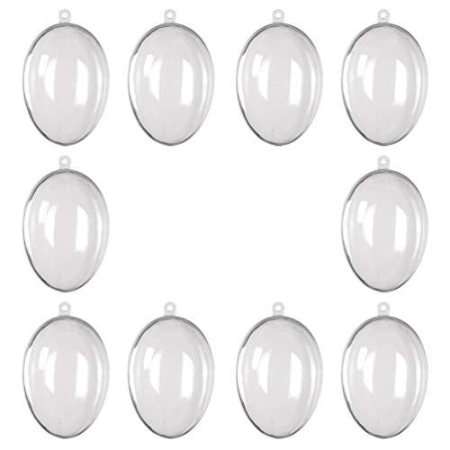 Amosfun 10 Pezzi Appesi Uova di Plastica Trasparenti Trasparenti Decorazioni per Uova di Pasqua Scatola di Caramelle Ornamenti Appesi Decorazione Pendente di Pasqua 80X53x59mm
