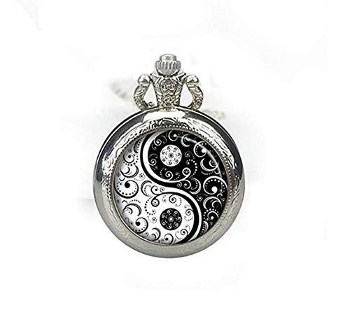 Ying Yang Symbols - Collar de reloj de bolsillo con símbolo de Ying Yang