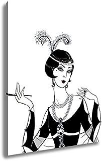 Ashley Canvas Flapper Girl Retro Party Invitation Design Art Deco Women with Cigarette, Kitchen Bedroom Living Room Art, Color 30x24, AG6357691