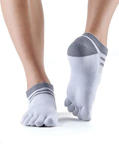 ToeSox UltraSport Performance Medium Weight No Show Socks, Salt, Large
