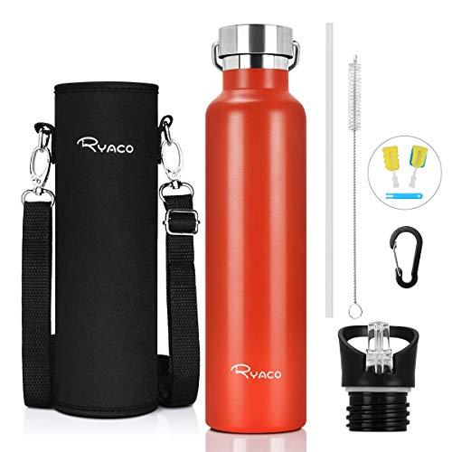 Ryaco Bottiglia Termica per Acqua in Acciaio Inox 560ml 750ml 1000ml, Senza BPA, Borraccia Sportiva Sottovuoto a Doppia Parete, Borracce Termiche per