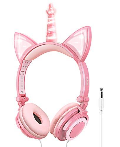 Auriculares para niños, Auriculares Unicornio con Cable para niños, Oreja de Gato LED con Diadema Ajustable, Auriculares con Sonido estéreo Auriculares para niños en la Oreja (Rosado)