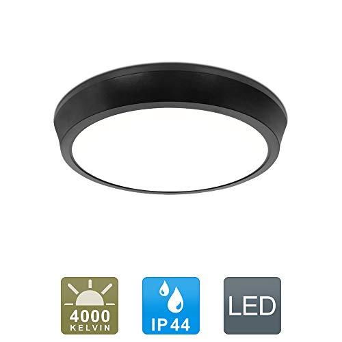 LED Deckenleuchte IP44 Wasserfest  12W 1280lm 4000K-Neutralweiß für Badezimmer Wohnzimmer Flur Küche Schlafzimmer Balkon Korridor Büro usw.(Schwarz)