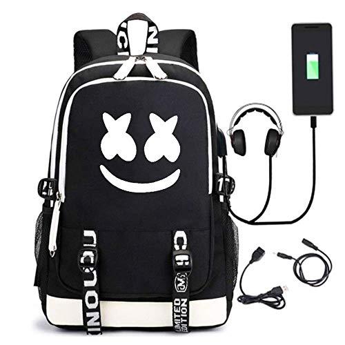Marshmallow Backpack 3D Luminous School Bags Kids Boys DJ Marshmallow Music Rucksack Unisex Child Girls Women Laptop Backpacks Men Travel Rucksacks Cheap Bookbag with USB Charging Port (Black1)
