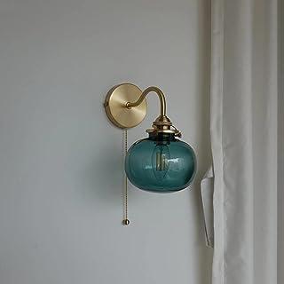 Boule de verre bleue LED appliques murales pour interrupteur à chaîne à tirer chambre salle de bain miroir lumière d'escal...
