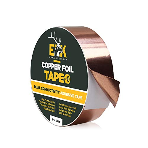 ELK Copper Foil Tape with Conductive Adhesive - Slug and Snail Repellent, Stained Glass, Arts and Crafts, Guitar, EMI Shielding, Solder, Electrical Repair and Grounding - Heavy Duty (1 inch x 66 ft)