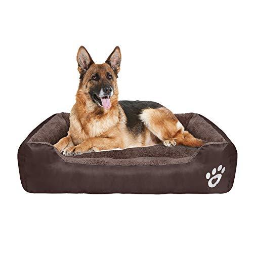 FRISTONE Waschbar Hundebett für kleine und große Hunde Hundekorb Weich 2XL Braun