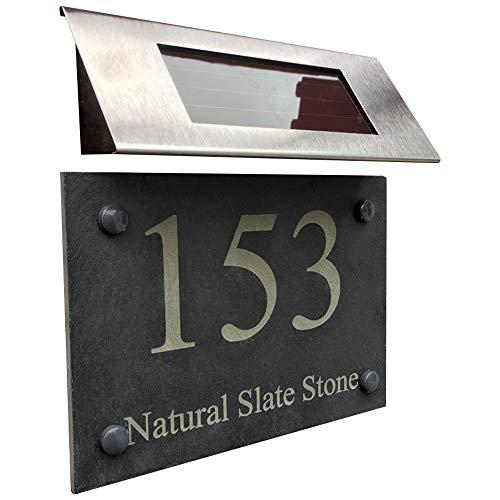 MODERN HOUSE SIGN PLAQUE DOOR NUMBER STREET ENFRAVED NATURAL STONE SLATE HOUSE SIGN WITH SOLAR LIGHT
