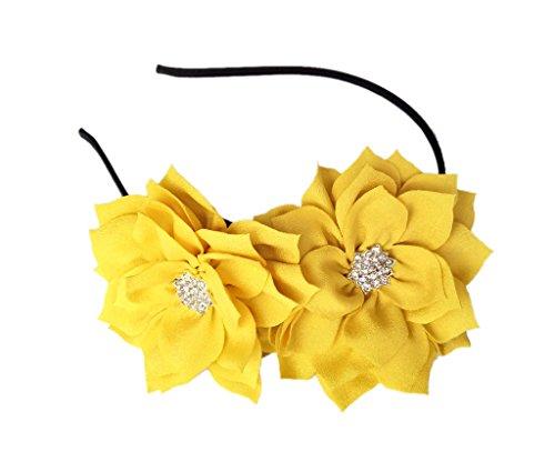 Fascinator Stirnband Haarspange Lotus Blume Braut Hochzeitsfeier Cocktail Headwear (Gelb)