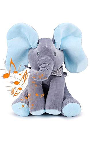 ZPPZ Elefante Peluche de Juguete Música Juguete de Peluche para bebé Elefante Juego Ocultar y Buscar Muñeca de Peluche Animada de Felpa Gran Regalo Navidad Blue