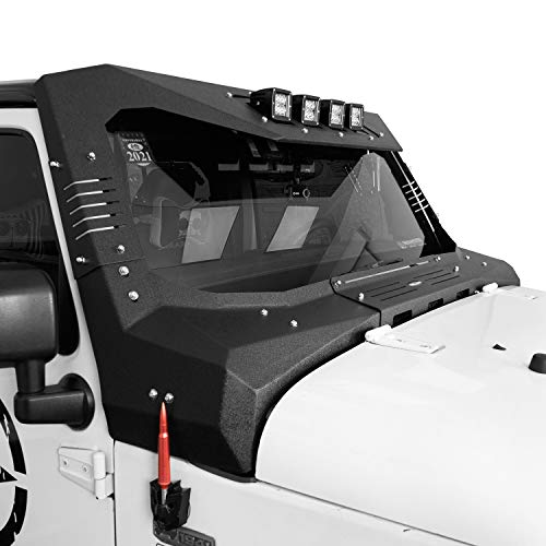 Hooke Road Windshield Frame Cover Roof Sun Visor Cowl Body Armor w/ 4 LED Lights Compatible with...