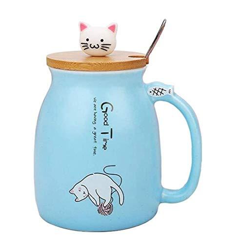 Taza De Cerámica Taza De Café Con Tapa Y Cuchara Del Recorrido Oficina Del Vaso De Dibujos Animados Del Gato Taza De Té Taza De Mamá Azul