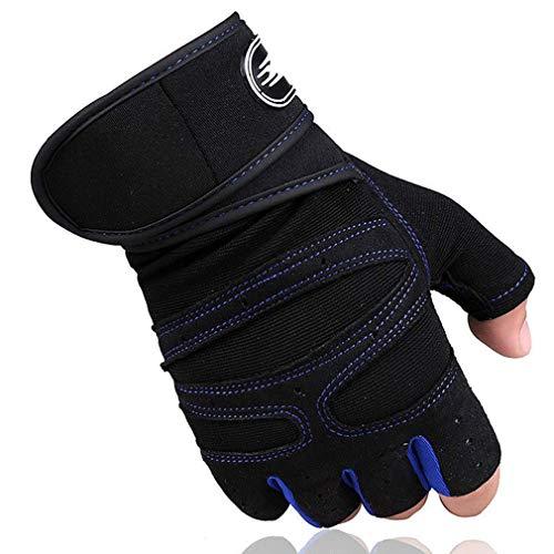 CHRONSTYLE Fitness Handschuhe, Trainingshandschuhe, Gewichtheben Handschuhe mit Handgelenkstütze und Palm Schutz, rutschfest Atmungsaktiv Sporthandschuhe zum Bodybuilding, Crossfit (Dunkelblau, XL)