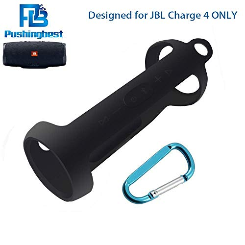 Silicone Case for JBL Charge 4 Portable Waterproof Wireless Bluetooth Speaker by Pushingbest (Black)