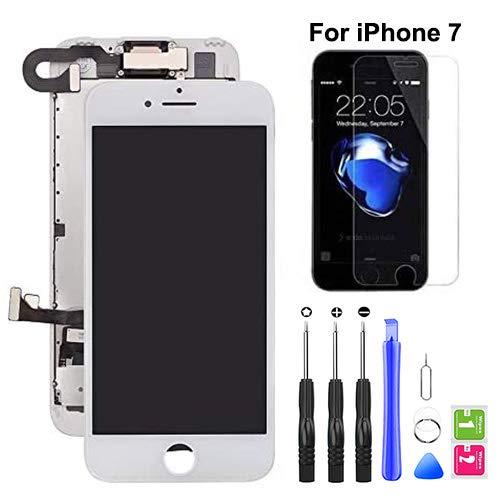 Hoonyer Pantalla para iPhone 7 Pantalla táctil LCD Pantalla digitalizadora Herramientas de reparación (con cámara Frontal,Sensor de proximidad, Altavoz) Blanco
