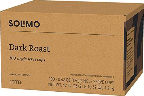 Amazon Brand - 100 Ct. Solimo Dark Roast Coffee Pods, Compatible with Keurig 2.0 K-Cup Brewers 2 48 single serve cups (24 Dark Roast, 24 Colombian Medium Roast) DARK ROAST – Blend of select coffees from Latin America, Africa, and Indonesia. Full-bodied coffee with a hearty punch but mild acidity for a smooth finish. COLOMBIAN – Harvested in regions of Colombia where the coffee is renowned for its rich, mild flavor. Medium body and acidity complemented by a floral aroma for enticing depth