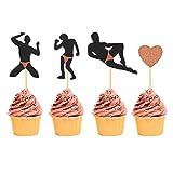 Bachelorette Party Cupcake Toppers - 40Pcs - Rose Gold Male Dancers Strippers Cupcake Toppers - Hen Party Cupcake Topper - Bachelorette Party Bridal Shower Decoration Supplies