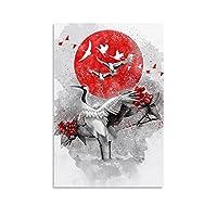 鶴 キャンバスポスター寝室の装飾スポーツ風景オフィスルームの装飾ギフト,キャンバスポスター壁アートの装飾リビングルームの寝室の装飾のための絵画の印刷 16x24inch(40x60cm)