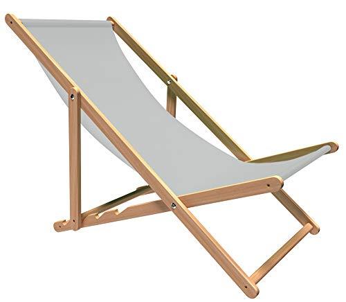 Holtaz Liegestuhl Premium aus Buchenholz für Garten und Balkon, Sonnenliege, Strandstuhl, klappbar, verstellbar, bis 130 kg