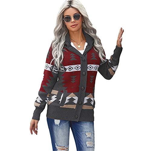 MICEROSHE Cómodo Suéter de Mujer Sweeater de Punto de la Mujer de Las Mujeres Mujeres de Patrones Retro Europeos y Americanos Mangas largas más Terciopelo Sentirse Bien (Color : Gris, Size : Large)
