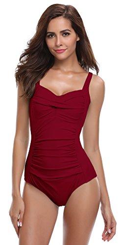 SHEKINI Mare da Donna Costumi Interi Push up Retro Bikini con morbide Coppe Un Pezzo Costume da Bagno Intero Ruched Triangolo Regolabile Sexy Body Swimsuit Monokini (Large, Wine Red)
