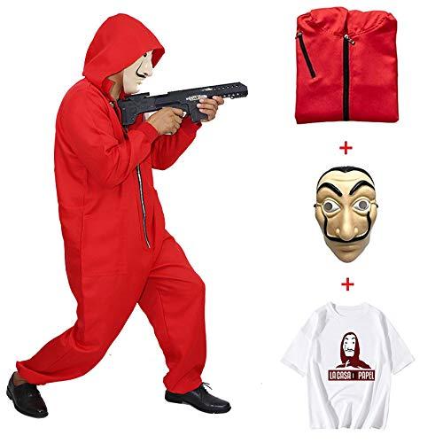 ZHANGXX Cosplay geld, kostuum, bankruis, kostuum, Halloween, carnaval, rood pak gezichtsmasker